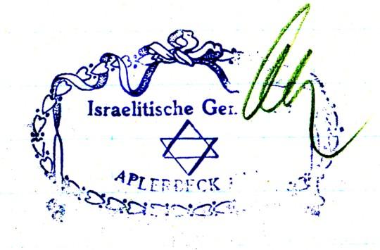 Stempel der Israelitischen Gemeinde Aplerbeck, 1928