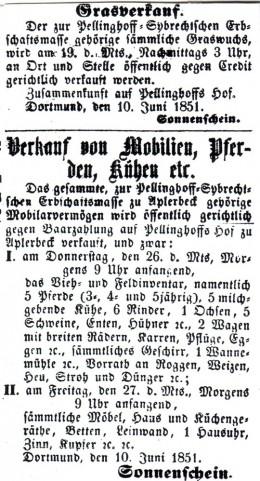 Anzeiger. Amtliches Kreisblatt  für den Kreis Dortmund, 14.06.1851
