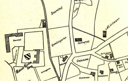 Lage des Pellinghofs nach dem Urkataster, 1827