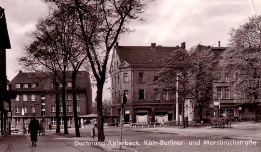 Die Unglückshäuser an der Marsbruchstraße, um 1955