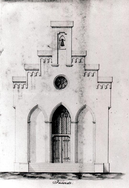 Ansicht der Fassade der Trauerhalle nach einem Plan des Baumeisters von Hartmann, 1855 (Quelle: Stadtarchiv Dortmund, Bestand 16, lfd. Nr. 405)