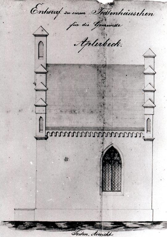 Seitenansicht der Trauerhalle nach einem Plan des Baumeisters von Hartmann, 1855 (Quelle: Stadtarchiv Dortmund, Bestand 16, lfd. Nr. 405)