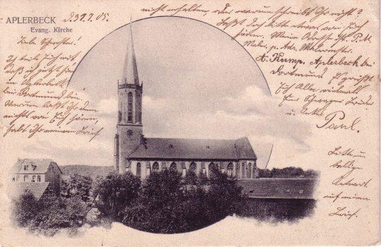 Die 1869 geweihte evangelische Kirche von Aplerbeck. Blick aus Süden, 1905 (Sammlung Klaus Winter, Dortmund)