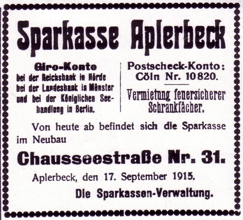 Inserat zur Eröffnung des neuen Sparkassengebäudes, 1915