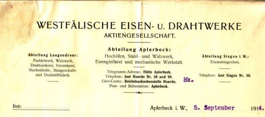 Briefkopf Westfälische Eisen- und Drahtwerke, 1914