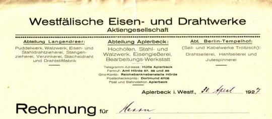 Briefkopf Westfälische Eisen- und Drahtwerke, 1927