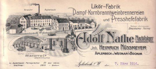 Briefkopf der Brennerei Nathe, 1914 (privat)