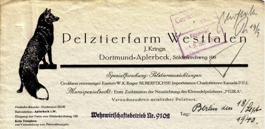Briefkopf der Pelztierfarm Westfalen, 1940 (Sammlung Klaus Winter)